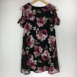 Lulus XS Black Pink Floral Tunic Blouse